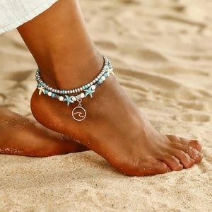 Wave Charm Starfish Beads 2 Strand Anklet